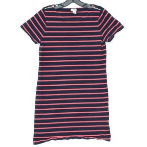 J Crew Dress Striped T Shirt Zippers Small D2